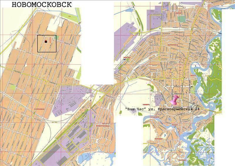 карта новомосковска с улицами