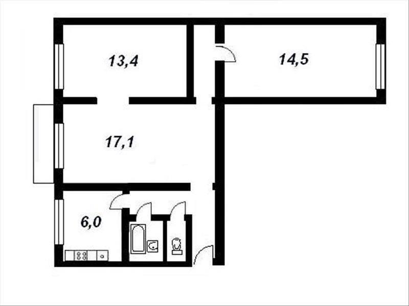 Схема трёхкомнатной квартиры хрущевки